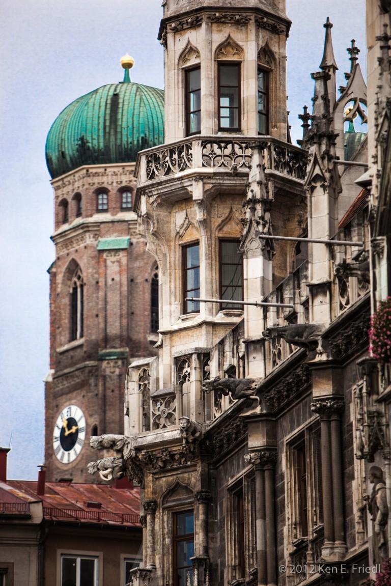 Munich City Hall and Frauenkirche